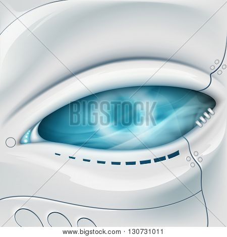 Robot Eye. Mechanical face. Stock vector illustration.