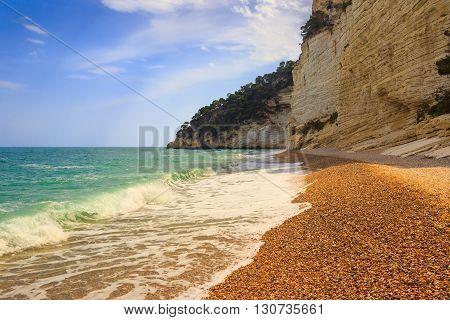 The most beautiful coasts of Italy:Baia dei Mergoli beach (Apulia).