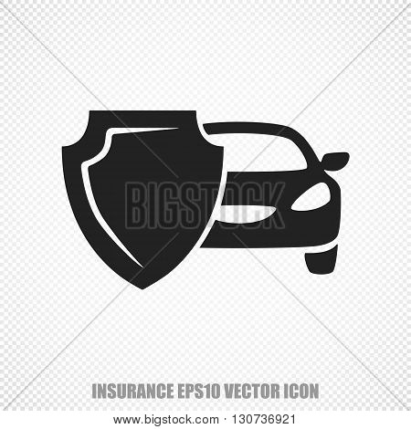 The universal vector icon on the Insurance theme: Black Car And Shield. Modern flat design. For mobile and web design. EPS 10.