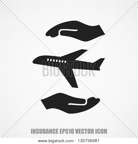 The universal vector icon on the Insurance theme: Black Airplane And Palm. Modern flat design. For mobile and web design. EPS 10.