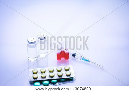 Sterile Vial Filled with Medication Solution. An Injection Pharmaceutical Dosage Form.