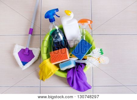 Cleaning Supplies On Floor