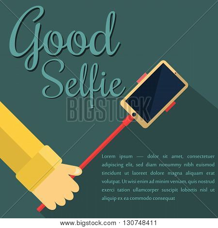Monopod Selfie man. Self Portrait Tool For Smartphone. Vector Illustration