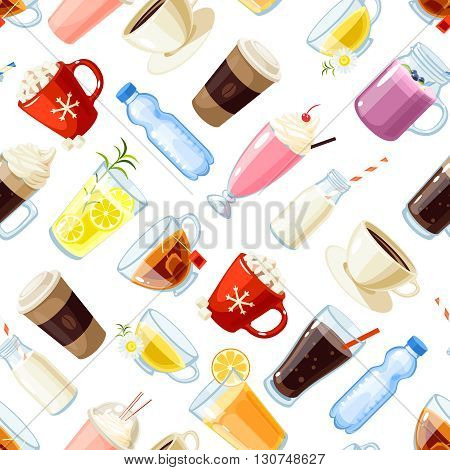 Seamless pattern with cartoon food: non-alcoholic beverages - tea, herbal tea, hot chocolate, latte, mate, coffee, root beer, smoothie, juice, milk shake, lemonade and so. Vector illustration.