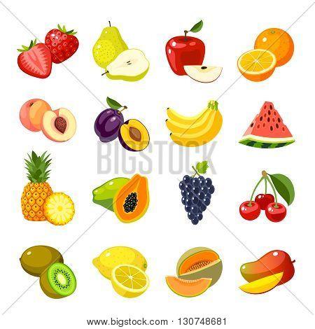 Set of colorful cartoon fruit icons: apple, pear, strawberry, orange, peach, plum, banana, watermelon, pineapple, papaya, grapes, cherry, kiwi, lemon, mango. Vector illustration, isolated on white.