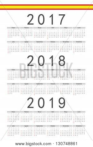 Set Of Rectangle Spanish 2017, 2018, 2019 Year Vector Calendars