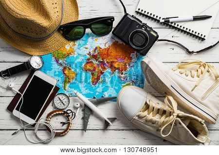 Overhead view of Traveler's accessories, Essential items of traveler