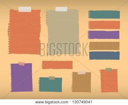 Colorful ripped blank, lined note paper are stuck on orange background.