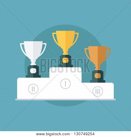 Gold, silver and bronze trophy cup on prize podium. Flat design vector illustration.