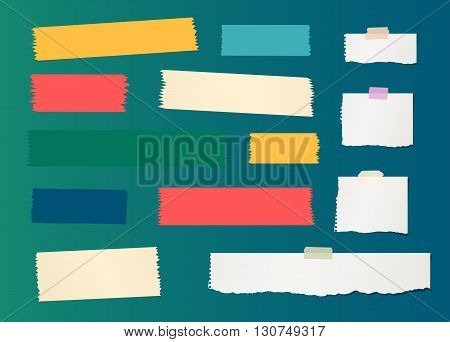 Pieces of ripped white blank note paper, colorful sticky, adhesive tapes are stuck on gradiant wall.