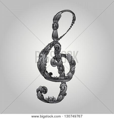 Baroque treble clef. Hand drawn vector stock illustration