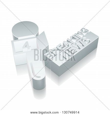 News icon: 3d metallic Breaking News And Microphone with reflection on White background, EPS 10 vector illustration.