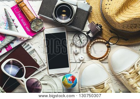 Overhead view of woman's casual outfits Outfit of female traveler