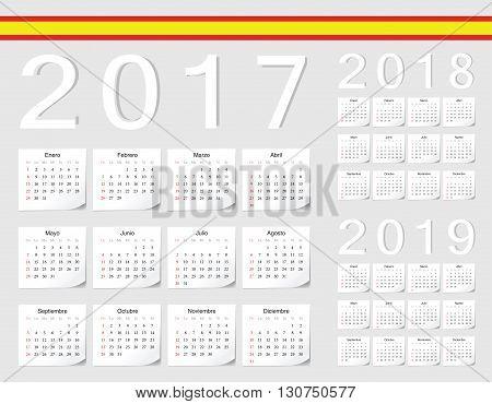 Set Of Spanish 2017, 2018, 2019 Vector Calendars