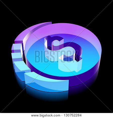 Banking icon: 3d neon glowing Dollar Coin made of glass with reflection on Black background, EPS 10 vector illustration.