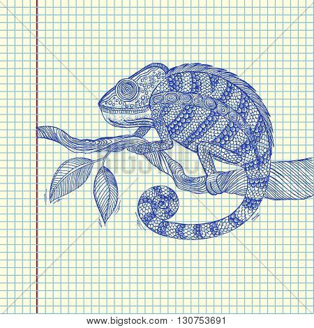Chameleon on leaf. Sheet of paper drawing. Vector stock illustration