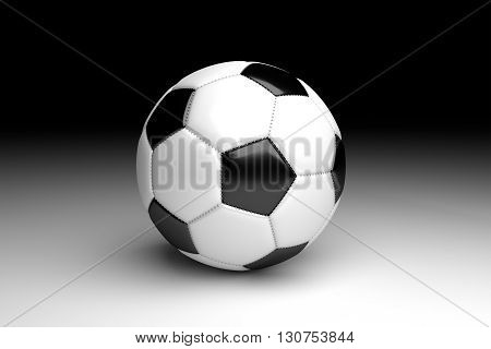 3D rendering football on black and white