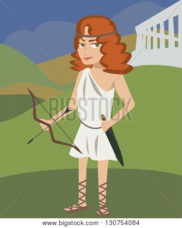 artemis deity cartoon vector colorful illustration of antique goddess