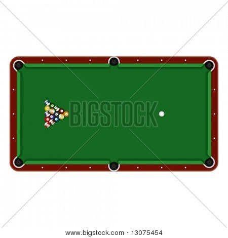 Pool table. Detailed vector.