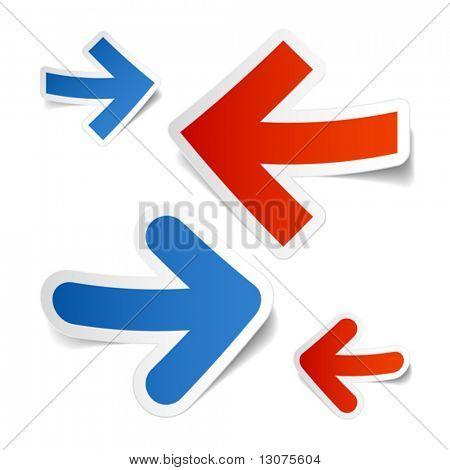 Arrows stickers. Vector.