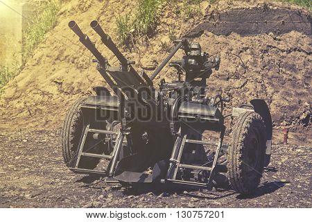 close up on Anti-aircraft gun in mountain
