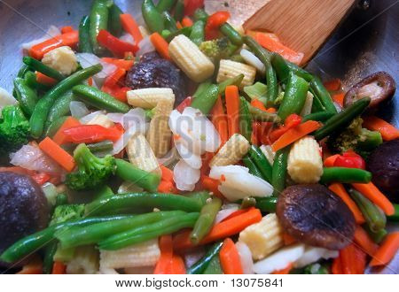 Closeup of stir fry vegetables