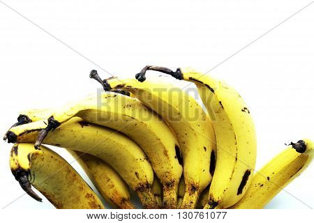 Close up of Lebmuernang banana or slim yellow bunch of banana, Lady finger banana, isolated on white background. Space for texts.