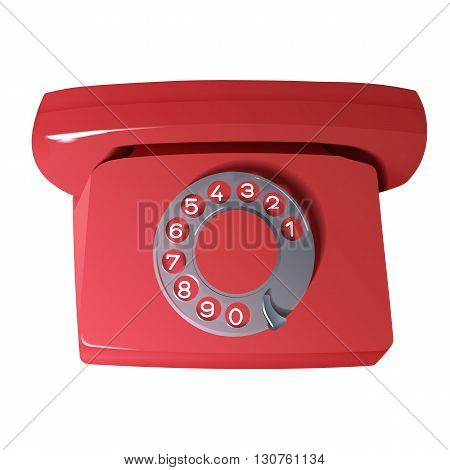 Retro phone in red colors, vector illustration