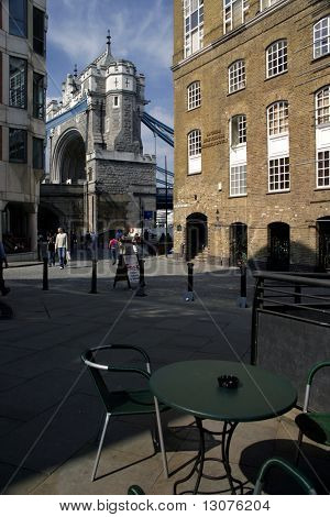 The famous landmark of London: the Tower Bridge from the terrace of a cafe.