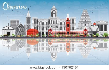 Chennai Skyline with Gray Landmarks, Blue Sky and Reflections. Business Travel and Tourism Concept with Historic Buildings. Image for Presentation Banner Placard and Web Site.