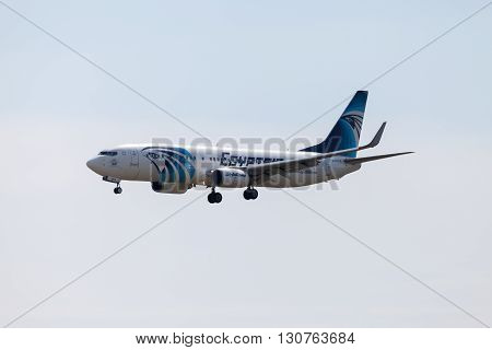 BERLIN / GERMANY - AUGUST 1 2015: Boing 737 - 800 EgyptAir plane lands on airport tegel at august 12015 in berlin / germany.