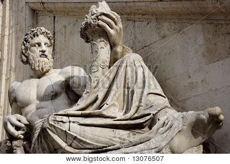 Statue with horn of plenty in Piazza del Campidoglio, in Rome.