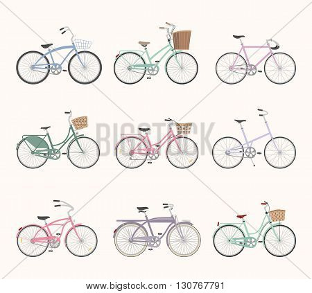 Set of retro bicycles isolated on white background in modern flat style. Vintage bicycles. Old retro style. Vector illustration