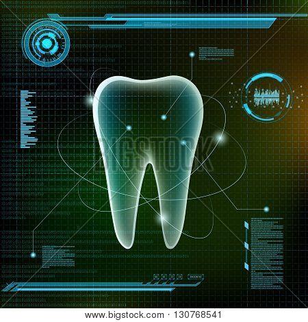 Human tooth. Futuristic infographic design. Stock vector illustration.