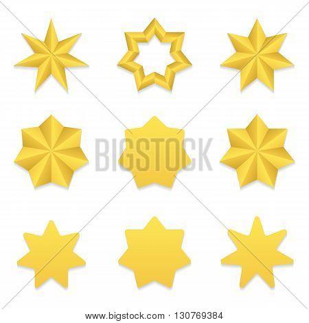 Set of nine different golden seven point stars. Vector, eps10.