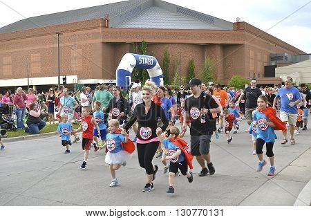 FARGO, NORTH DAKOTA-May 18, 2016:Kid runners line up for the Heroes Youth Run, an event at the Fargo Marathon  which also includes a dog, bicycle,  5K, 10K, half and full runs.