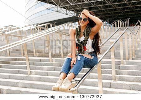 Happy Girl On Railing