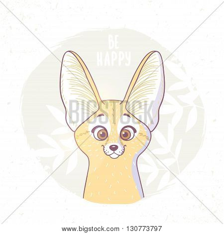 Character cute and beautiful funny fox fennec. Vector illustration