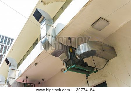 Industrial kitchen hood exterior manufacturing food object