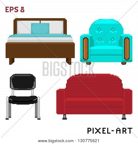 A set of furniture elements in the style of pixel art. Vector illustration - EPS8