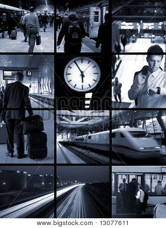 Conceptual image-grid: commuters are travellng hours every day from home to office and return. They leave early morning and arrive home when it is dark.