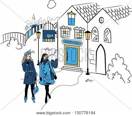 Town with girls silhouette vector illustration. Elegant urban scene