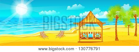 Stock vector illustration of happy sunny summer day at beach with bungalows for recreation on island with bright sun, palm trees in flat style element for info graphic, website, games, motion design