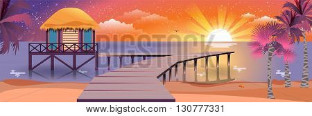 Stock vector illustration of happy sunny summer night at beach with bungalows on water on island with sunset, palm trees in flat style element for info graphic, website, games, motion design