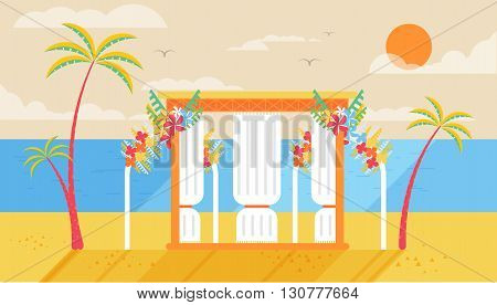 Stock vector illustration of happy sunny summer day at the beach with wedding entourage on the island with bright sun, palm trees in flat style element for info graphic, website, games, motion design