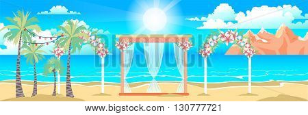 Stock vector illustration of happy sunny summer day at the beach with wedding entourage on the island with bright sun, palm trees in flat style element for info graphic, website, motion design