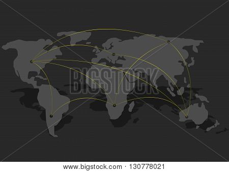Abstract World map. Connection concept. Travel concept. Telecommunication concept