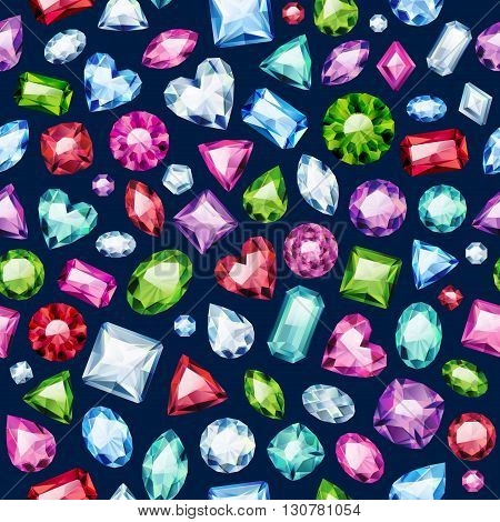Seamless colorful diamond gemstones background on black. Jewels pattern. Assorted diamonds rubies emeralds vector illustration. Good for cover card banner poster luxury design.