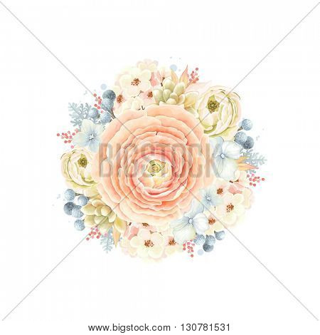 Decorative round ornament of flower Ranunculus orange color, succulent, leaves and Silver Brunia, floral vector illustration in vintage watercolor style.