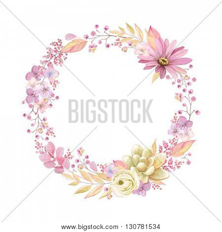 Cute wreath with leaves, ranunculus, Pyrethrum and Succulent, vector illustration in vintage watercolor style. Romantic design.